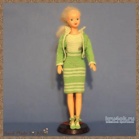 Вязаный костюм для Барби. Работа Alise Crochet