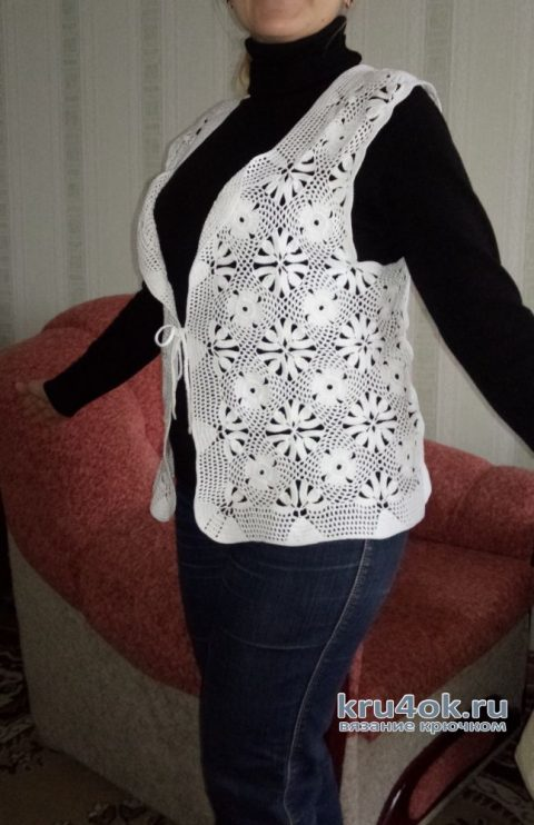 Жилет женский ажурный. Работа Ольги вязание и схемы вязания