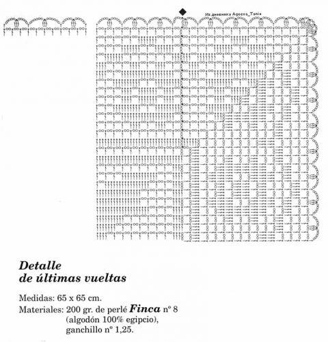 Квадратная салфетка в филейной технике