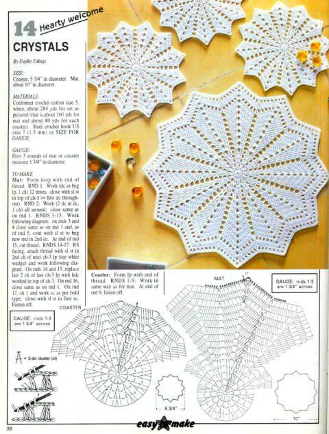 простая схема вязания салфетки