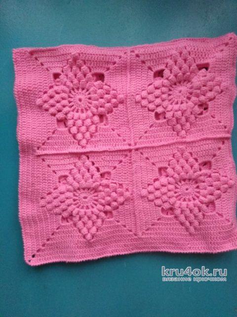 Детский розовый плед крючком. Работа Людмилы Ильичевой вязание и схемы вязания