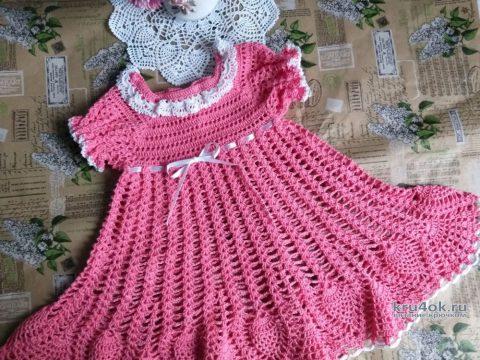 Детское платье крючком. Работа Людмилы Кузьминской вязание и схемы вязания