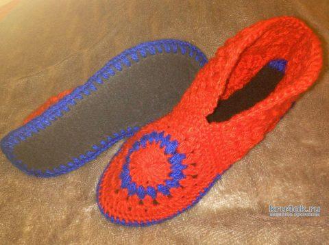 Домашние тапочки и сапожки из мотивов. Работы Александры Миличенко вязание и схемы вязания