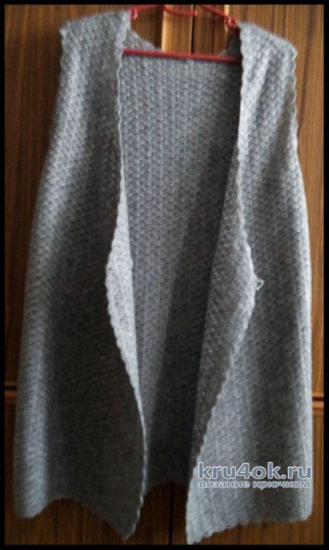 Двубортный жилет крючком. Работа Анны. вязание и схемы вязания