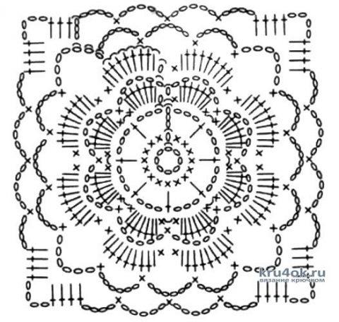 Летняя кофточка из мотивов крючком. Работа Марии Григорьевой вязание и схемы вязания