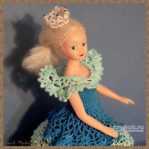 Платье для Барби с оборками. Работа Alise Crochet вязание и схемы вязания