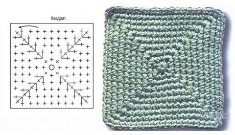 Схема вязания мотива крючком для тапочек
