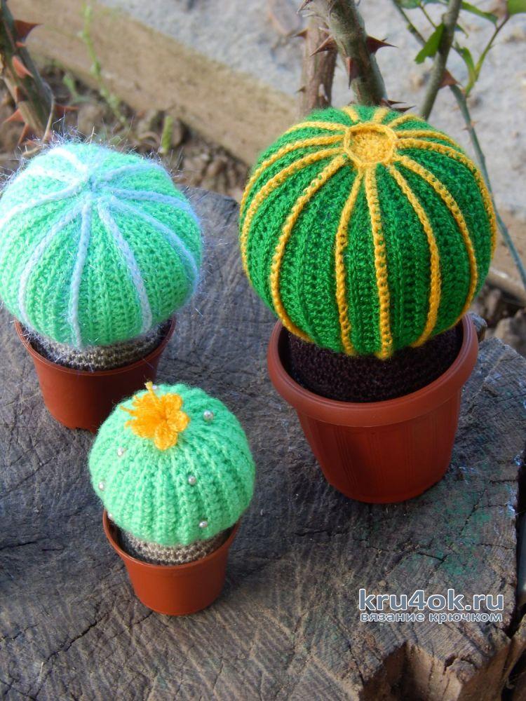вязаные кактусы крючком видео урок