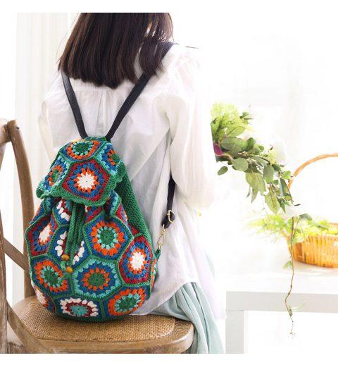Рюкзак крючком из шестиугольных мотивов