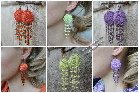 Вязаные крючком сережки, женское украшение