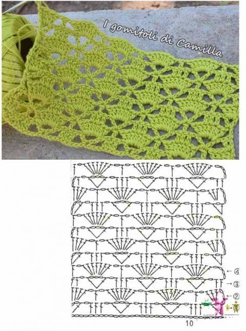 Схемы для вязания палантина крючком