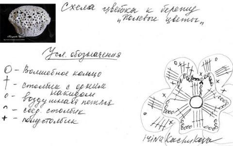 Схема вязания берета Полевые цветы