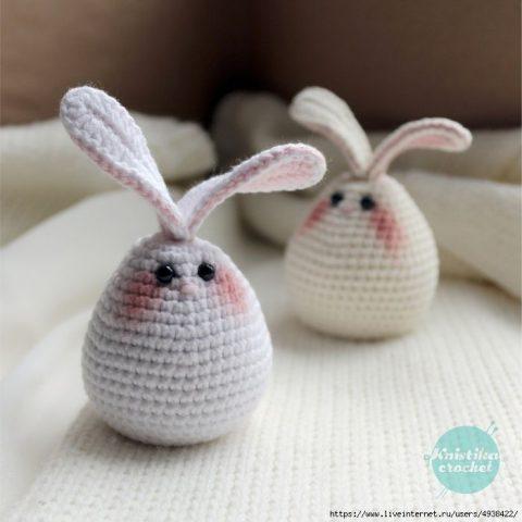 Бесплатное описание пасхальное яйцо - кролик 7