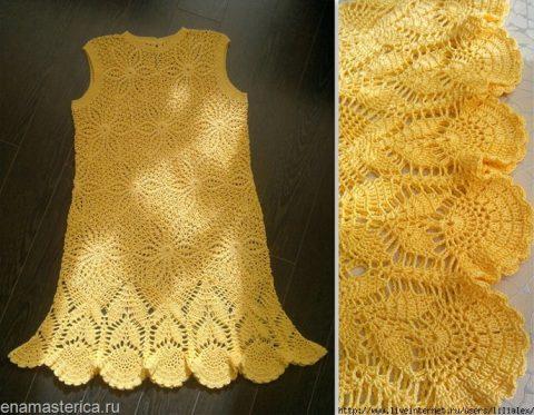 Летнее платье Солнышко крючком