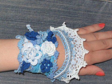 Вязаное украшение - браслет Бохо