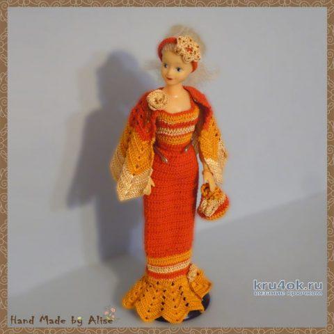 Платье для Барби мисс осень 2005. Работа Alise Crochet вязание и схемы вязания