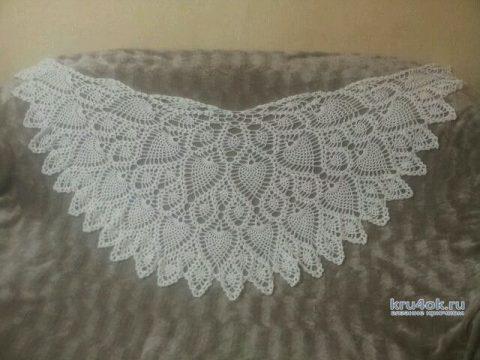 Полукруглая шаль с узором ананас. Работа Александры Миличенко вязание и схемы вязания