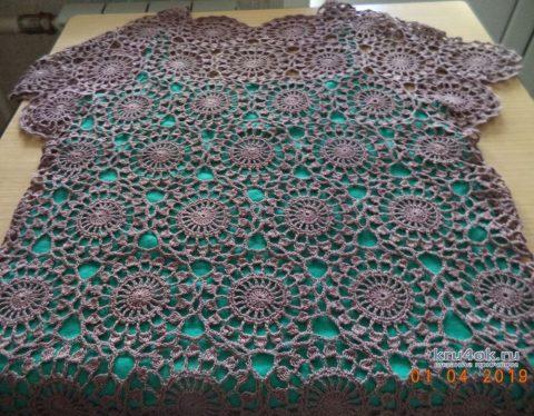 Вязаная ажурная туника из круглых мотивов. Работа Анны вязание и схемы вязания
