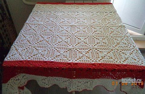 Вязанная крючком скатерть. Работа Анны вязание и схемы вязания
