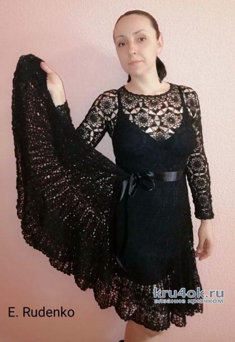 Вязаное платье Тёмная ночь. Работа Евгении Руденко вязание и схемы вязания
