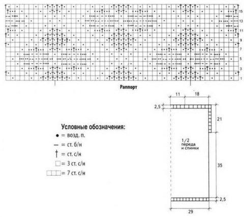 схемы вязания ажурной безрукавки
