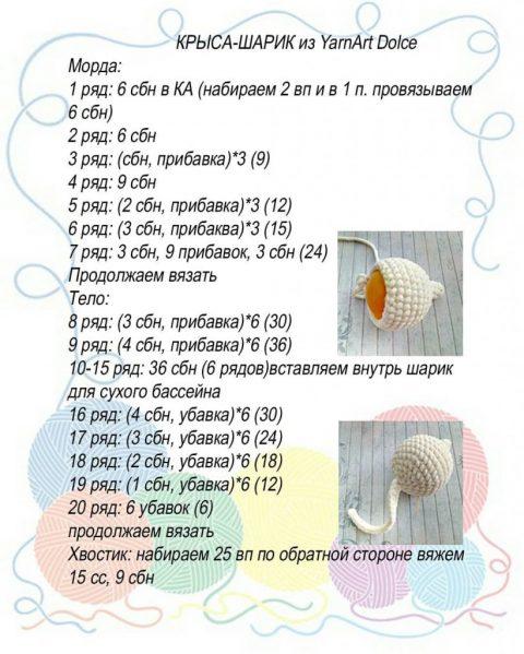 Крыса-шарик из плюшевой пряжи