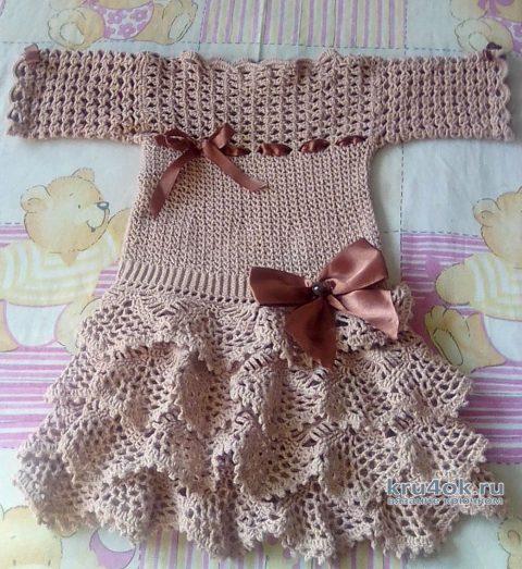 Детское платье Шоколадка. Работа Оксаны вязание и схемы вязания
