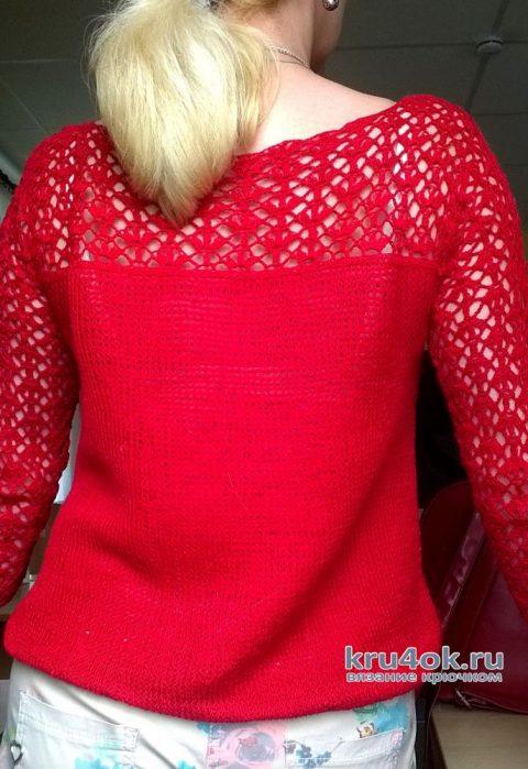 Кофточка с ажурными рукавами. Работа Елены Шевчук вязание и схемы вязания