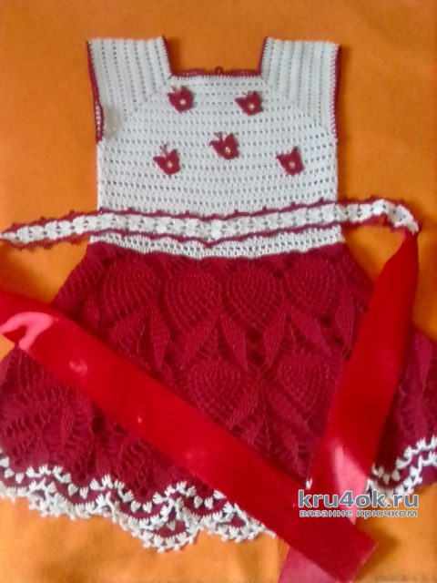Платье для девочки Малинка, связано крючком. Работа Оксаны вязание и схемы вязания