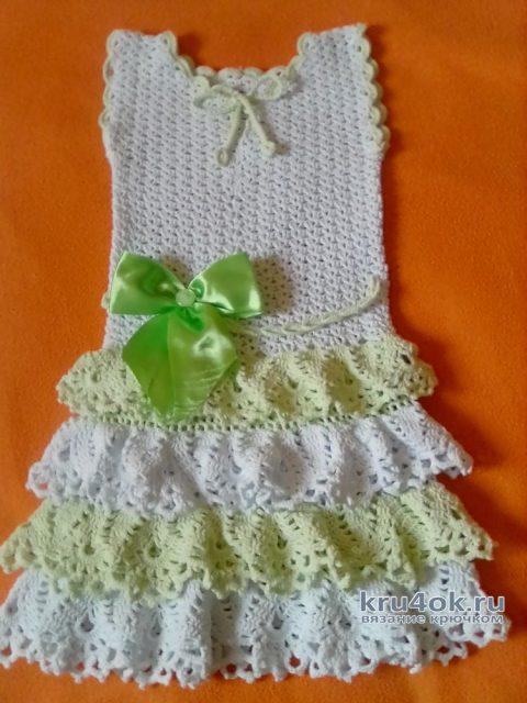 Платье для девочки Нежность. Работа Оксаны вязание и схемы вязания