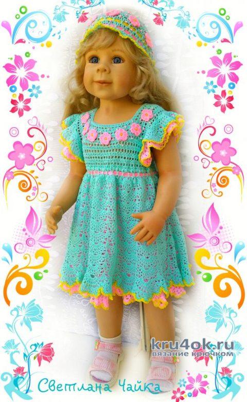Платье и шапочка для девочки 2 лет. Работы Светланы Чайка вязание и схемы вязания