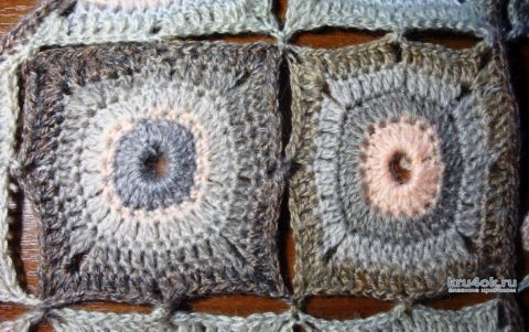 Шаль Медальки, связанная крючком. Работа Анны Черновой вязание и схемы вязания