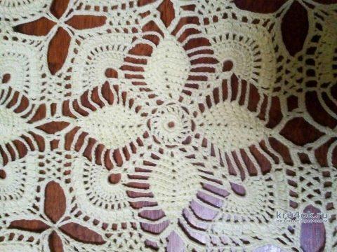 Скатерть крючком из вискозы. Работа Татьяны Ивановны вязание и схемы вязания