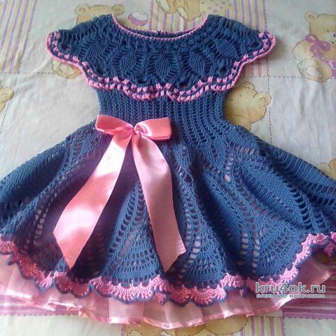 Вязанное крючком платье для девочки. Работа Оксаны вязание и схемы вязания