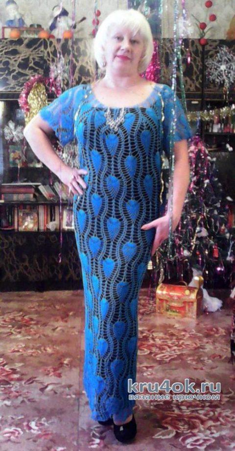 Вязаное платье с узором Ананас. Работа Александры Миличенко