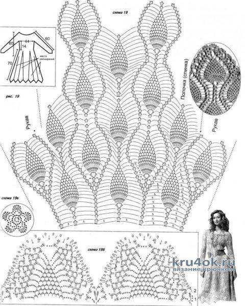 Схемы вязания платья с узором ананас