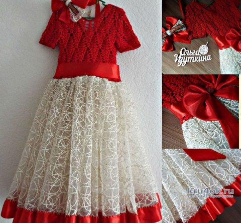 Выпускное платье для девочки крючком. Работа Ольги Изуткиной вязание и схемы вязания