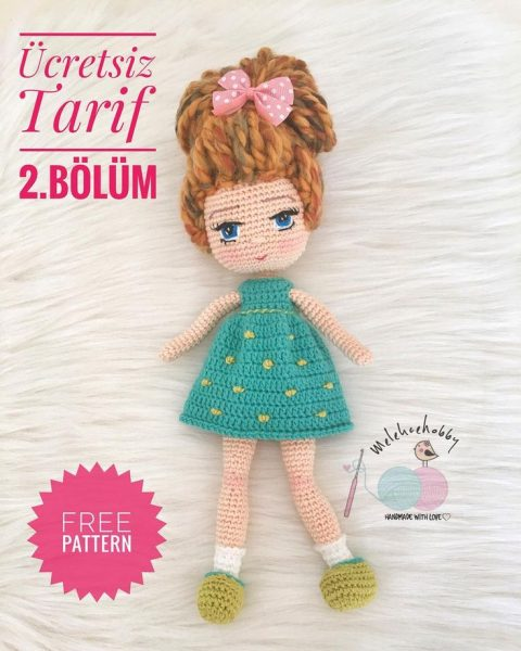 Кукла Мина крючком, бесплатное описание