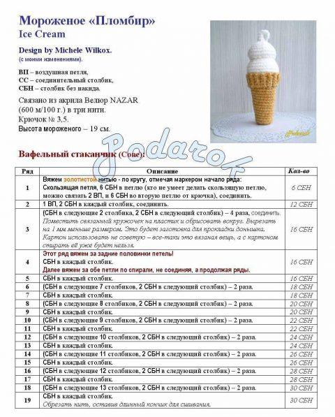 Как связать крючком мороженое пломбир