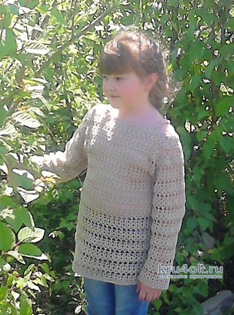 Летняя кофточка для девочки крючком. Работа Ирины Степиной вязание и схемы вязания