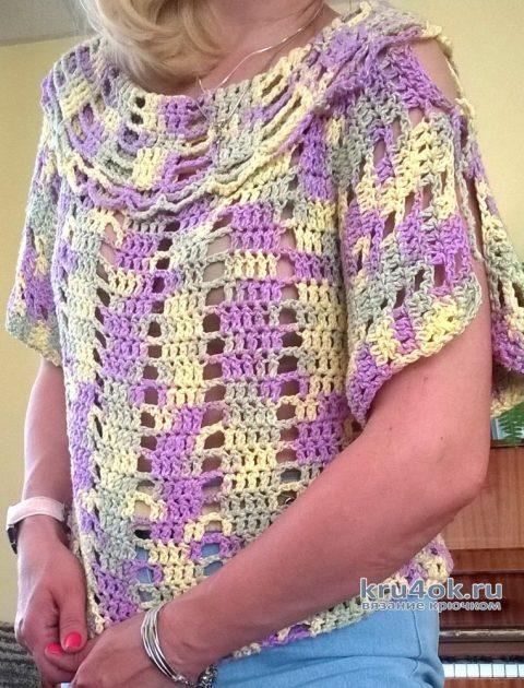 Летняя кофточка из пряжи секционного крашения. Работа Елены Шевчук вязание и схемы вязания