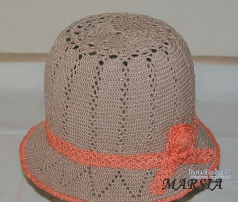 Летняя шляпа крючком. Работа Marsia Sia