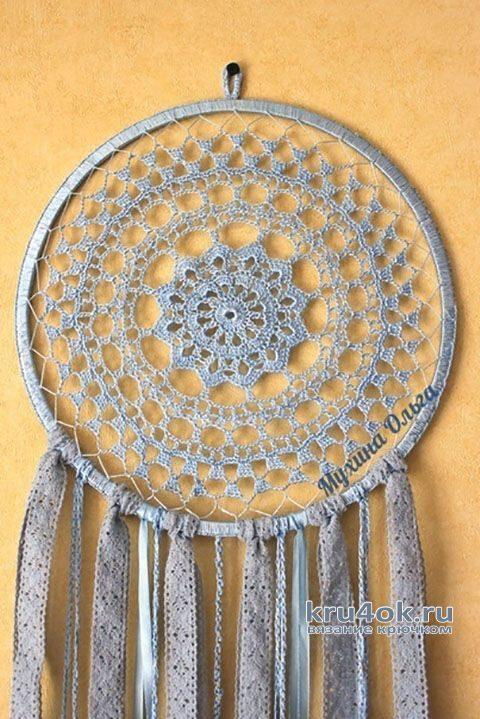 Ловец снов крючком Небесная лазурь. Работа Мухиной Ольги вязание и схемы вязания