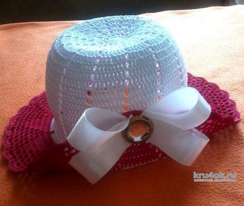 Панамка для девочки 2-3 лет. Работа Оксаны вязание и схемы вязания