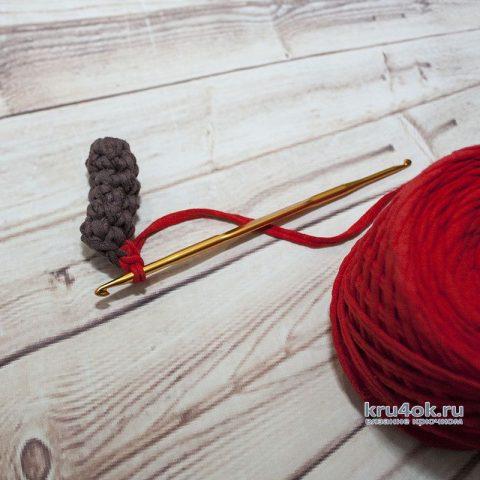 Вяжем крышку для шкатулки из трикотажной пряжи