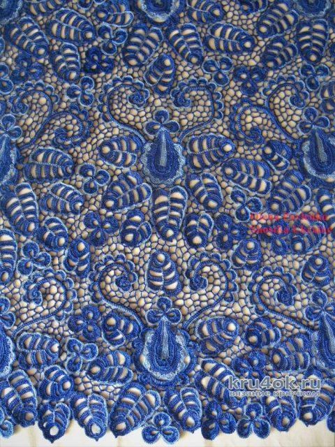 Туника Васильковый запах в технике ирландского кружева вязание и схемы вязания