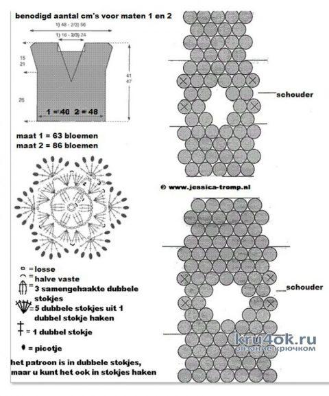 Вязанный крючком ажурный топ. Работа Светланы Чайка вязание и схемы вязания