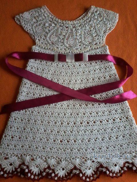 Вязаное платье для девочки 3-4 лет. Работа Оксаны вязание и схемы вязания