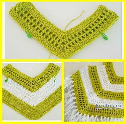 Вязаный топ для девочки. Работа Александры Миличенко вязание и схемы вязания