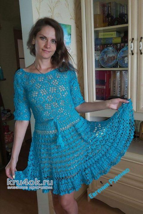 Ажурное летнее платье Тёмная бирюза. Работа Евгении Руденко